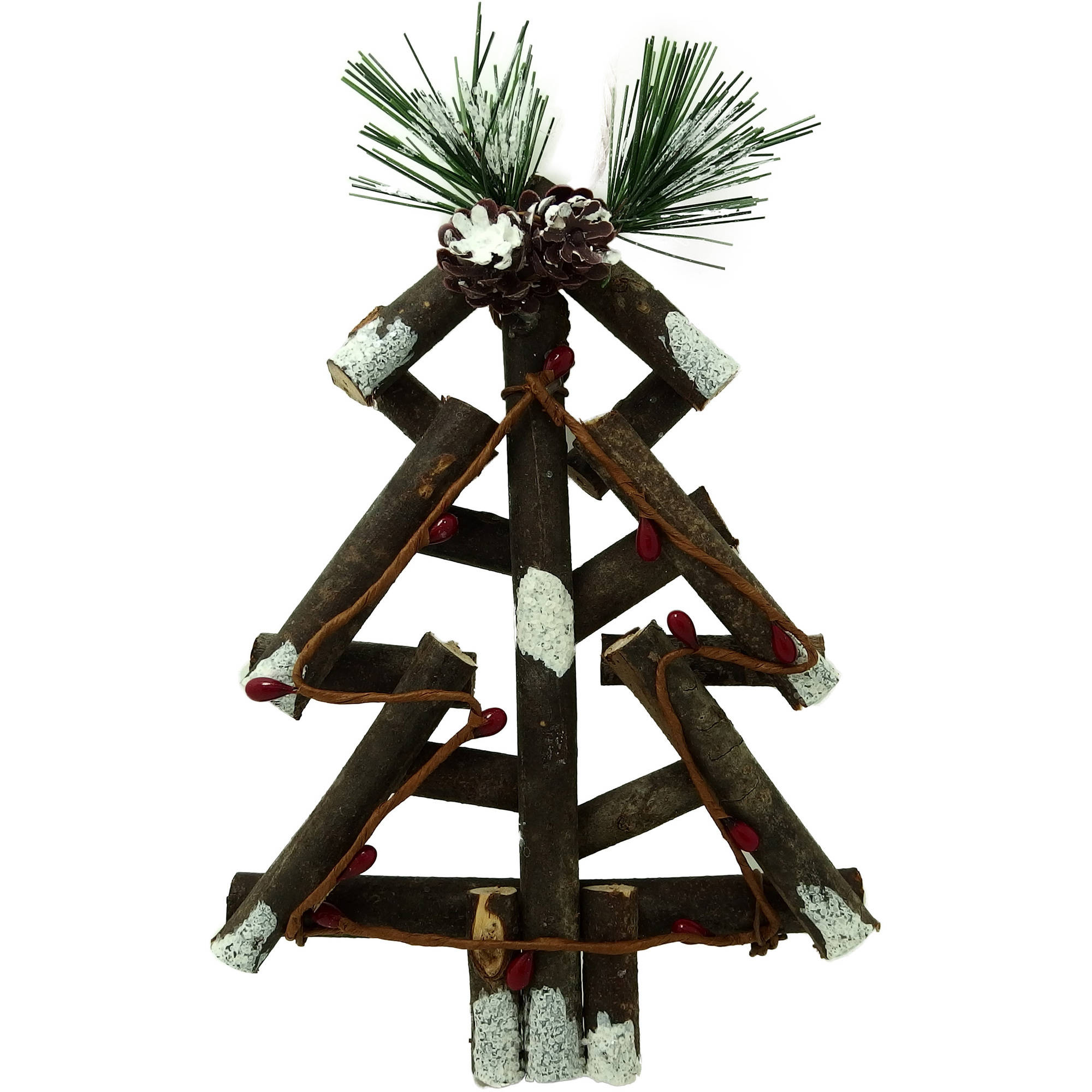 Holiday Time Christmas Ornaments 6-Piece Lodge Wooden Tree Ornament