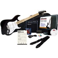 Silvertone SS10 Complete Electric Guitar Package with Instructional Software, Black