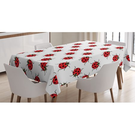 Ladybugs Decorations Tablecloth, Ladybugs Pattern Bugs Infinite Speckled Insect Theme Playroom Kids, Rectangular Table Cover for Dining Room Kitchen, 52 X 70 Inches, Red White, by Ambesonne](Cowboy Themed Table Decorations)