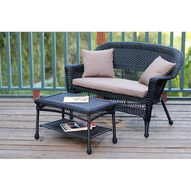 Jeco W00207-LCS007 Black Wicker Patio Love Seat And Coffee Table Set With Brown Cushion