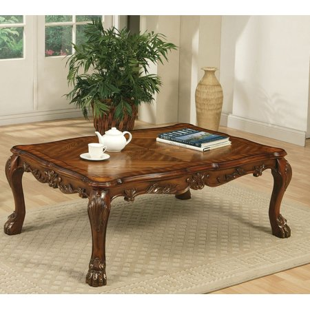 Simple Relax Traditional Carved Wood Occasional Coffee Table In Cherry Finish New