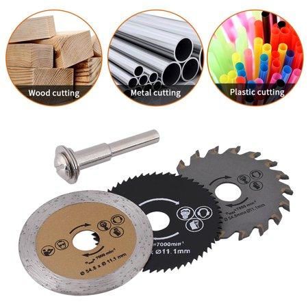 Garosa Saw Cutting Wheel, 3pcs 54.8mm HSS Mini Wood Circular Saw Blade Cutting Blade Rotary Tool+Mandrel - image 4 of 5