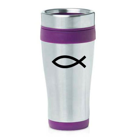 16oz Insulated Stainless Steel Travel Mug Christian Fish Symbol (Purple)