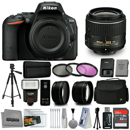 Nikon D5500 Digital SLR Camera Black with 18-55mm VR Lens + 32GB 15PC Accessory Bundle Kit