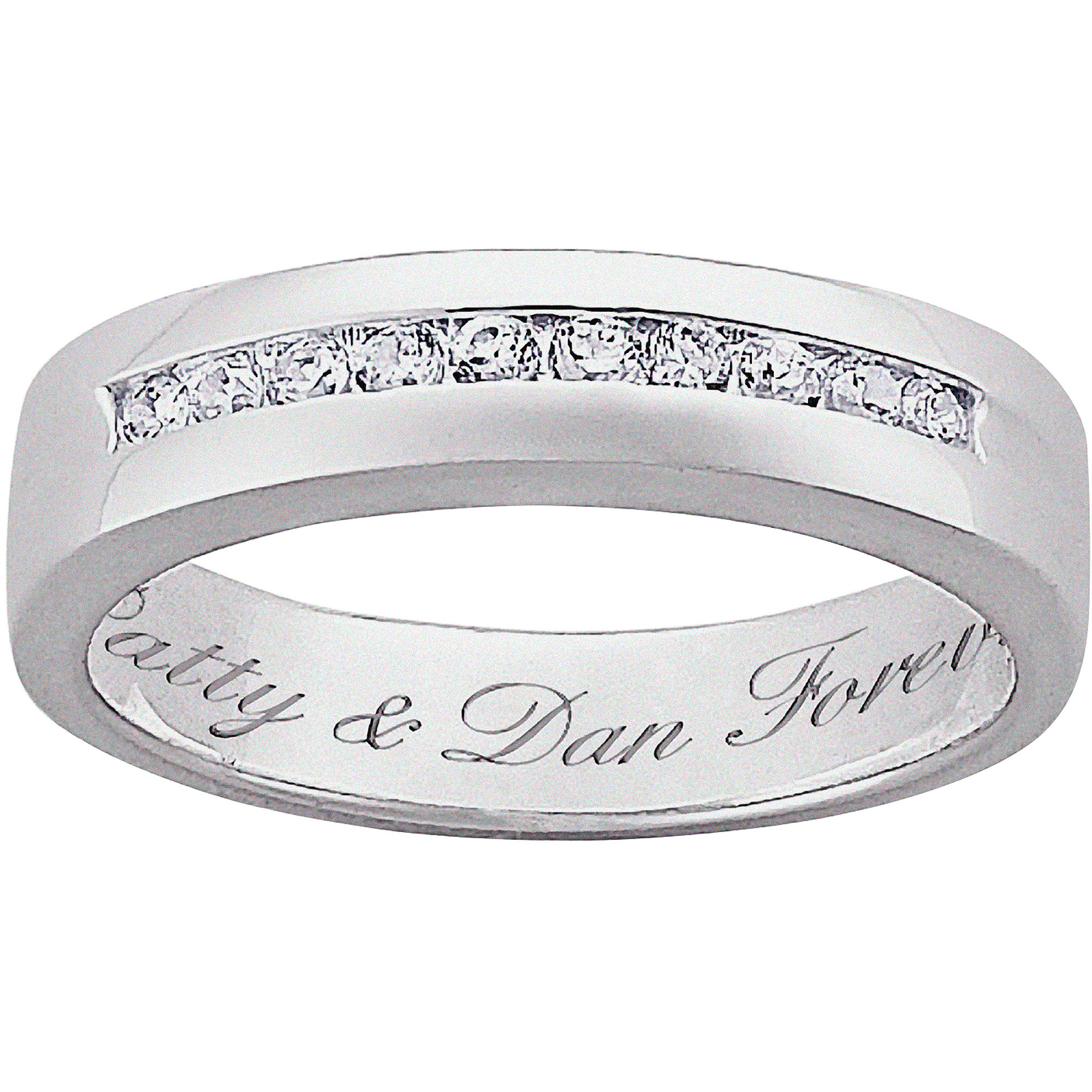 Personalized Sterling Silver CZ Wedding Band