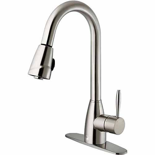 Vigo VG02014STK1 Stainless Steel Pull-Out Spray Kitchen Faucet with Deck Plate