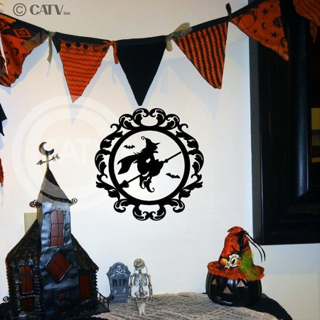 Halloween Frame #12 Flying Witch on Broom Portrait Vinyl Lettering Wall Decal Sticker (12.5