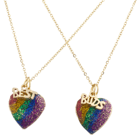 Lux Accessories Gold Tone Rainbow Glitter Heart Best Buds BFF Necklace Set (Best Buds Necklace Marijuanas)