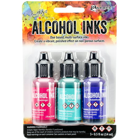 Tim Holtz Alcohol Ink .5oz 3/Pkg-Beach Deco-Flamingo/Patina/Amethyst (Alcohol Ink Applicator Felt)
