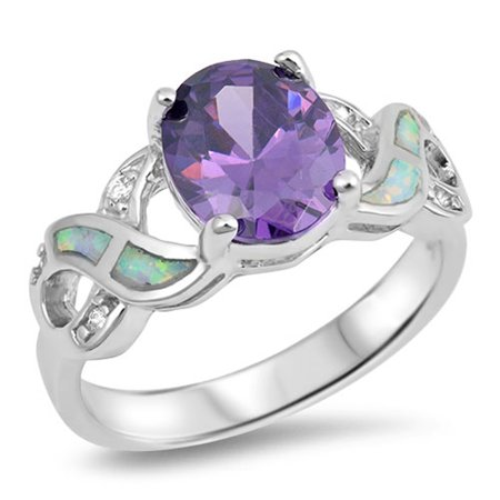 Sterling Silver Oval Simulated Amethyst White Simulated Opal Infinity Knot Ring ( Sizes 5 6 7 8 9 10 ) Rings (Size 5)