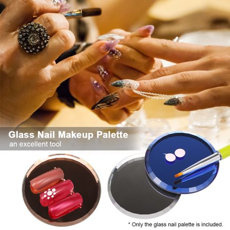 Glass Nail Makeup Palette False Nail Tips Eyelashes Extension Showing Practice Board Holder Manicure Nail Tool