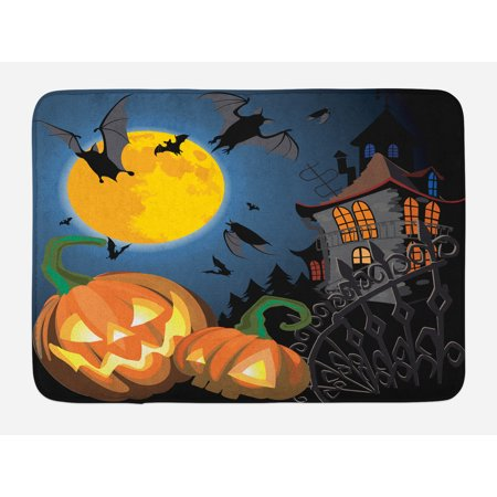 Halloween Maths For Kids (Halloween Bath Mat, Gothic Halloween Haunted House Party Theme Design Trick or Treat for Kids Print, Non-Slip Plush Mat Bathroom Kitchen Laundry Room Decor, 29.5 X 17.5 Inches, Multicolor,)