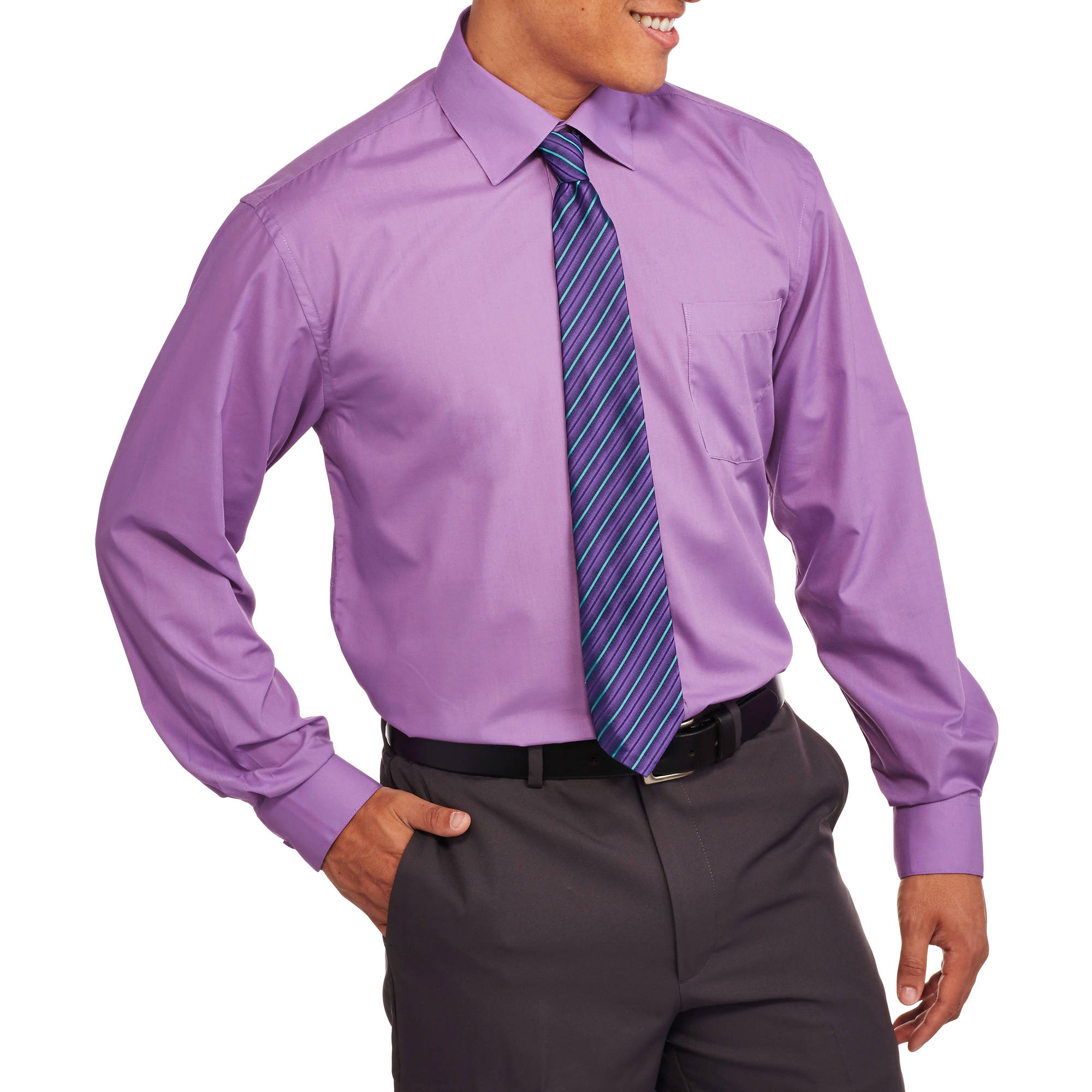 Big Men's 2-Piece Solid Dress Shirt and Tie Set