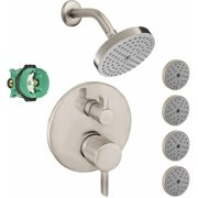 Hansgrohe KSB04447-27486-77PC Raindance Shower Faucet Kit with 4 Body Sprays PBV Trim with Diverter and Rough-In, Various Colors