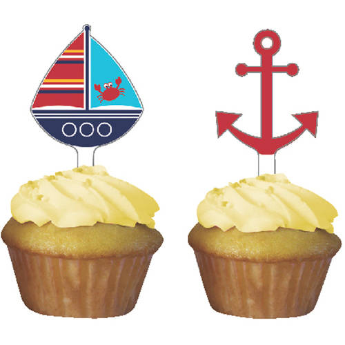 Image of Ahoy Matey! Cupcake Toppers, 12-Pack