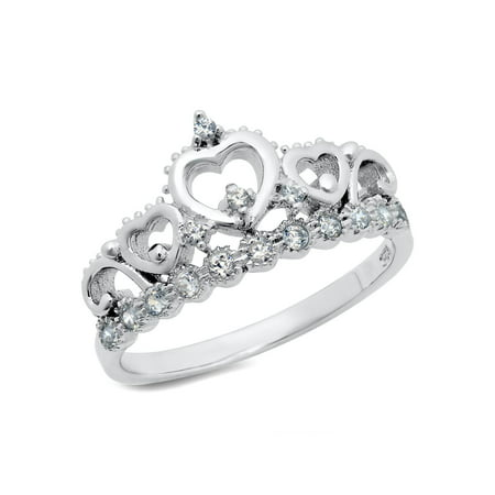 Sterling Cz Rings - Sz 7 Sterling Silver Cubic Zirconia Princess Heart Crown Tiara CZ Band Ring