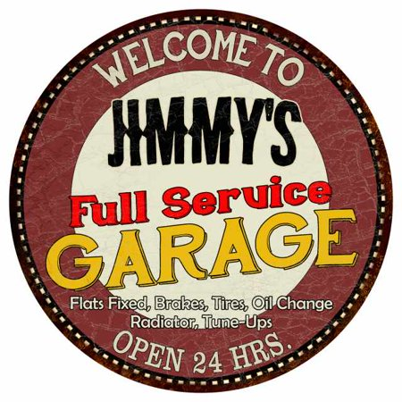 "Jimmy's Full Service Garage 14"" Round Metal Sign Man Cave Décor 100140037187"