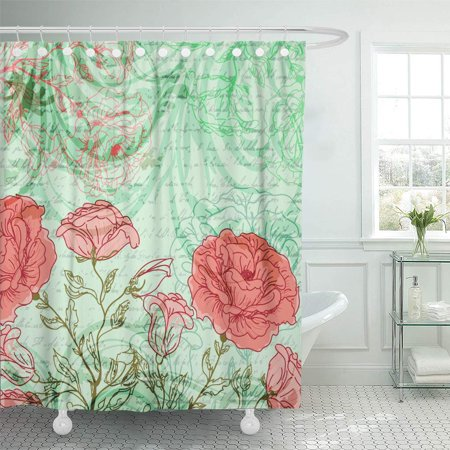 SUTTOM Vintage Grungy Retro Background Roses and Butterflies Floral Flower Shower Curtain 60x72 inch - image 1 de 1