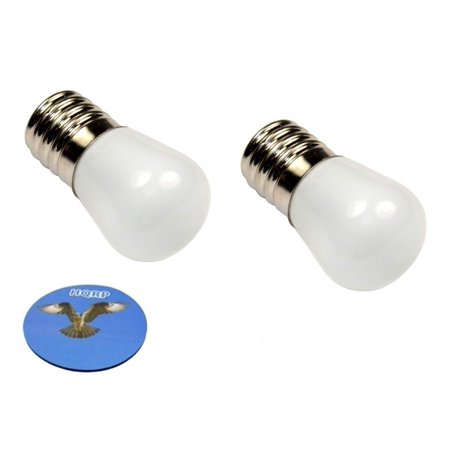 HQRP 2-Pack 110V E17 Base LED Bulbs for Fridge / Refrigerator / Freezer / Microwave / Range Hood Lights + HQRP Coaster