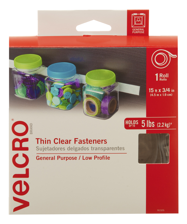 Velcro Sticky-Back Peel and Stick Roll Tape with Hook and Loop Strip, 15 feet x 3 4 inch by Velcro USA Inc