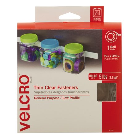 Velcro Sticky-Back Peel and Stick Roll Tape with Hook and Loop Strip, 15 feet x 3/4 inch (Sticky Tack)