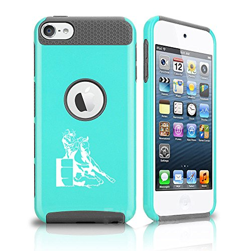 For Apple iPod Touch 5th / 6th Shockproof Impact Hard Soft Case Cover Female Barrel Racing Cowgirl (Teal-Grey)
