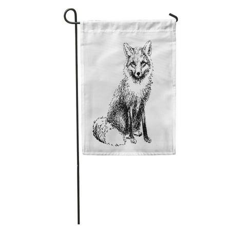 Fox Inked (LADDKE Vintage Fox Engraved Etching Drawn Hand Line Ink Graphic Garden Flag Decorative Flag House Banner 12x18)