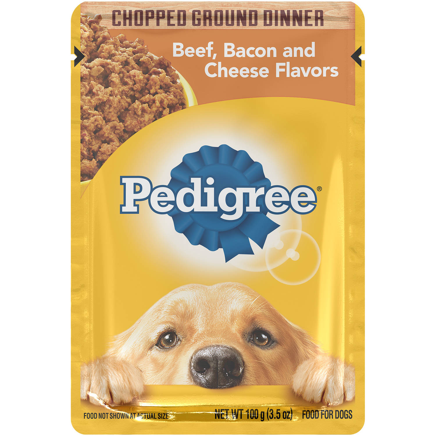 PEDIGREE Chopped Ground Dinner Beef, Bacon and Cheese Flavors Wet Dog Food, 3.5 Ounces