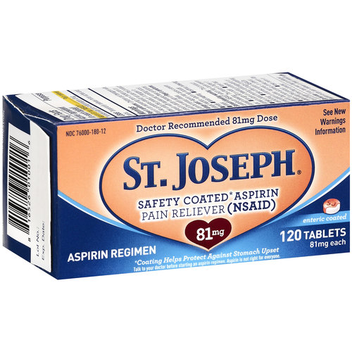 St. Joseph Aspirin Pain Reliever 81mg Enteric Coated Tablets, 120ct