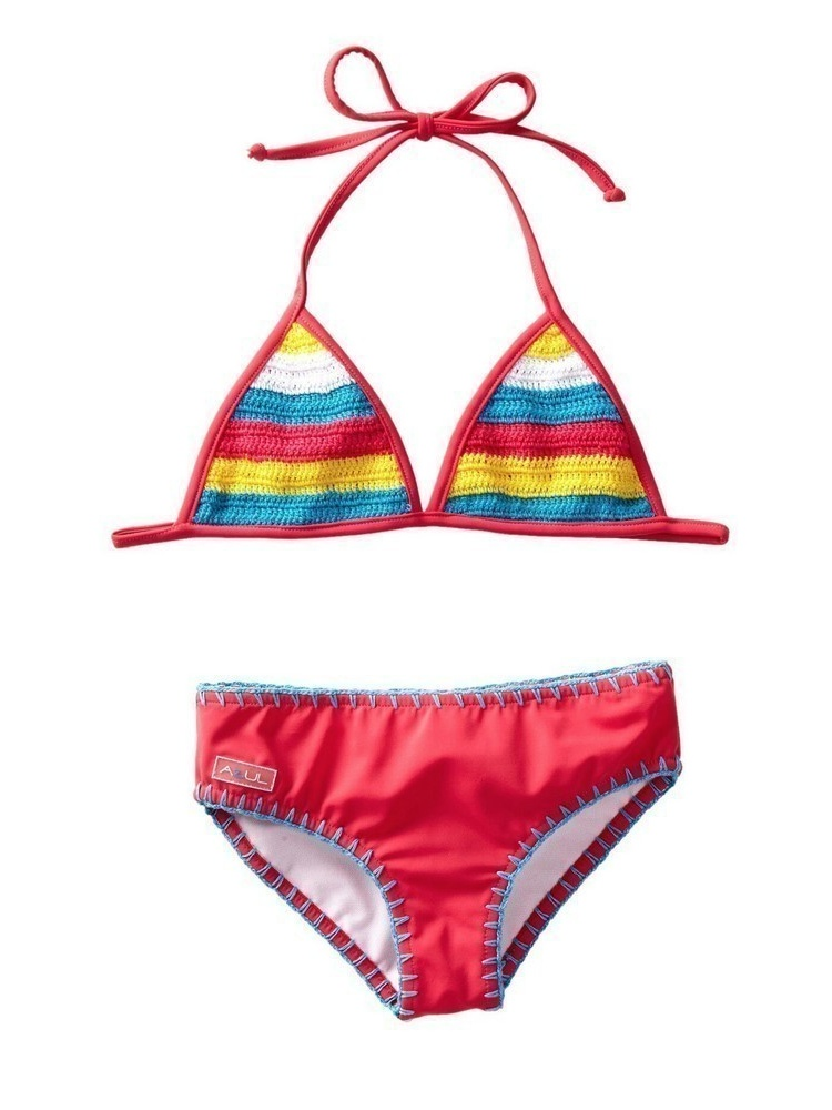 Azul Little Girls Pink Hippie Hippie Shake Crochet Accent Bikini Swimsuit
