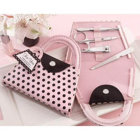 Pink Polka Purse Manicure Sets Set of 12