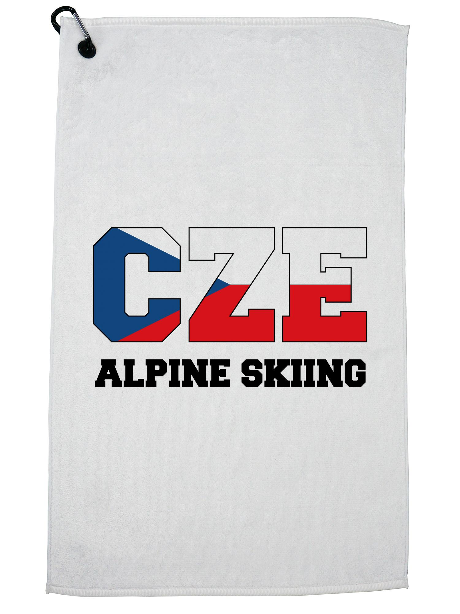Czech Alpine Skiing Winter Olympic -CZE Flag Golf Towel with Carabiner Clip by Hollywood Thread