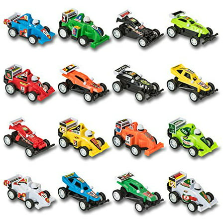 Prextex 16 pack Kids Racing Car Pull Back and Go Vehicles Great Stocking Stuffers and Toys for Boys Best Pull Back Racing Cars for