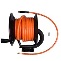 "WYNNsky Steel Manual Air Hose Reel Include 3/8""x50FT PVC Air Compressor Hose with 1/4"" MNPT Brass Endings. Lead-in Hose Bonus"