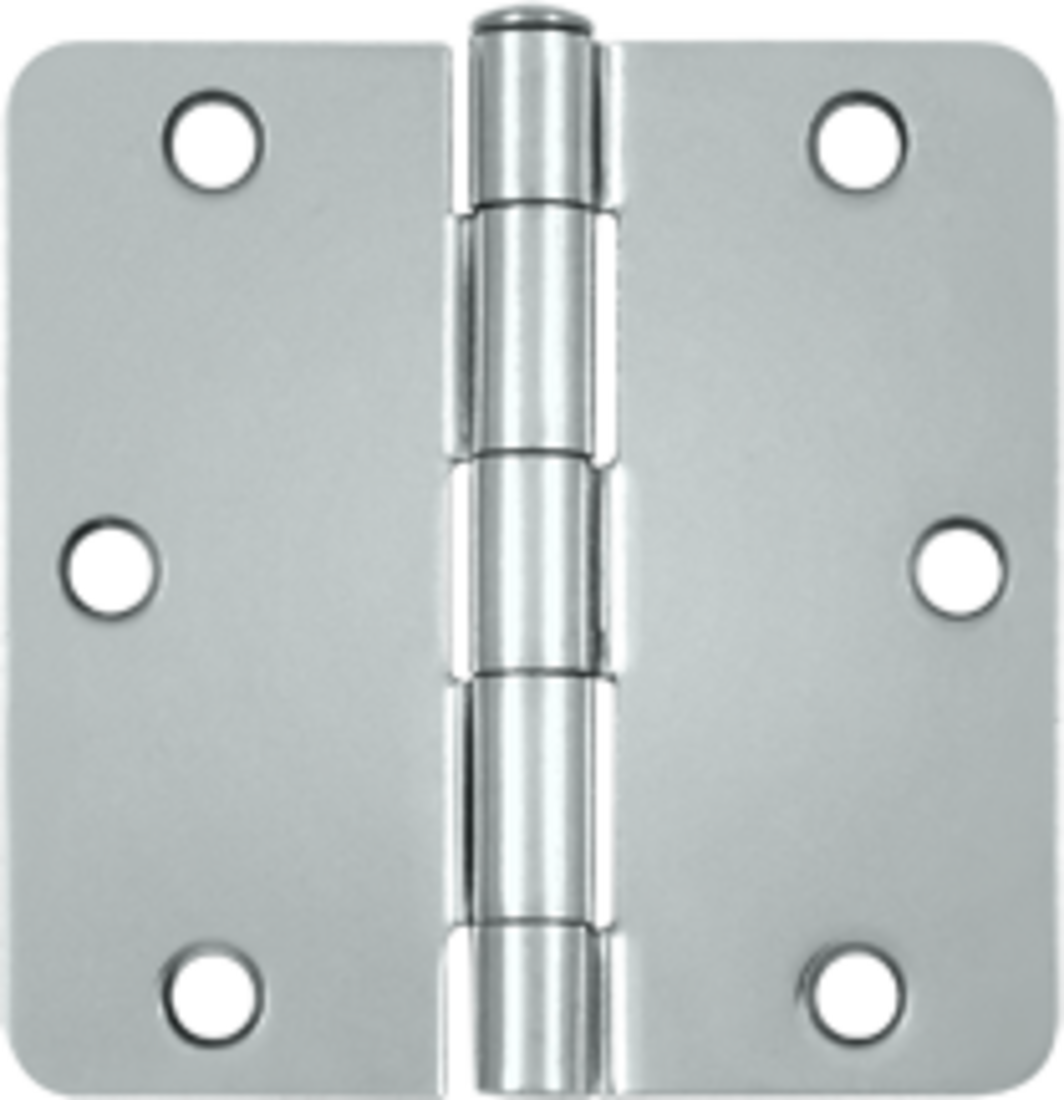 "3-1/2 x 3-1/2 Plain Bearing 1/4"" Radius Corner Full Mortise Hinge - Pair Bright Chrome"