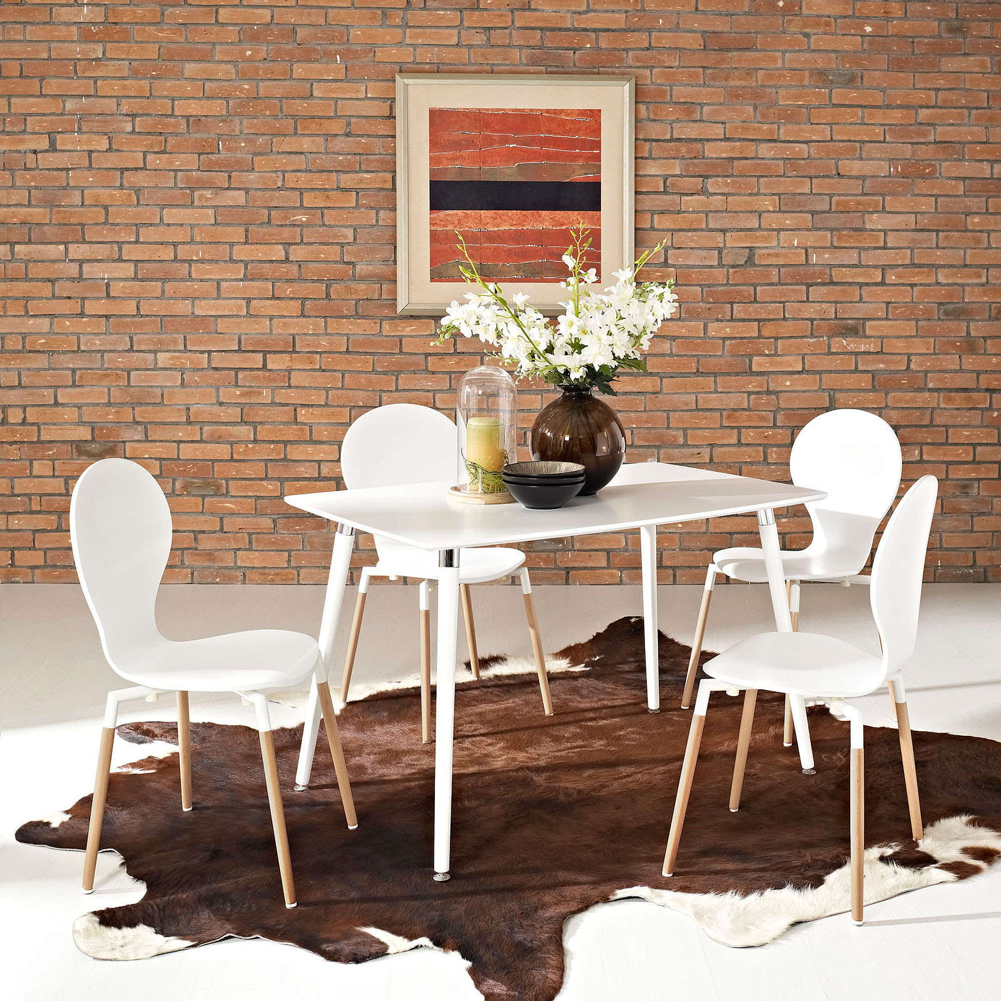 Modway Lode Rectangular Wood Dining Table with Wood Legs in White
