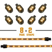 """XKGlow Motorcycle LED Light Strip (8 x Pods + 2 x 8"""" Strips), Multiple Colors"""