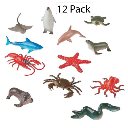 """Vinyl Ocean Animals - Pack Of 12 - 2"""" X 3.5"""" Assorted Animal Figures - Underwater Sea Life Creatures - For Kids Great Party Favors, Bag Stuffers, Fun, Toy, Gift, Prize, Piñata Fillers - By Kidsco"""