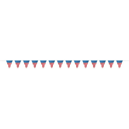 American Flag Pennant Banner, 14ft, Red White Blue, 1ct