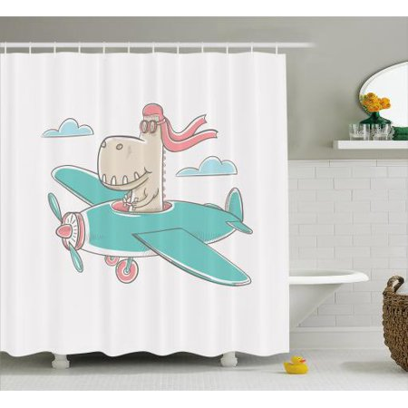 Kids Girls Shower Curtain, Dinosaur Flying A Plane in Sky Cool Hipster Funny Boys Graphic, Fabric Bathroom Set with Hooks, 69W X 70L Inches, Turquoise Eggshell Coral, by Ambesonne