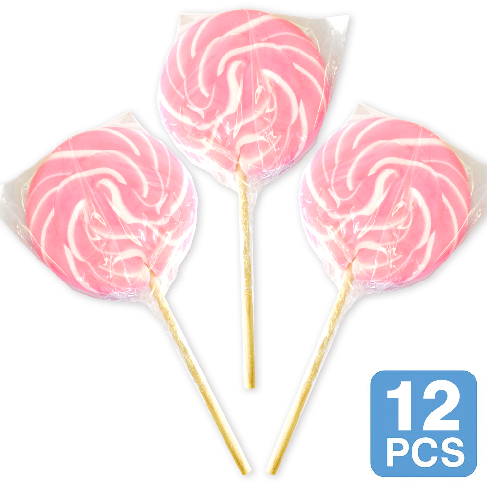 "Pink Swirl 3"" Lollipops (12 Count)"