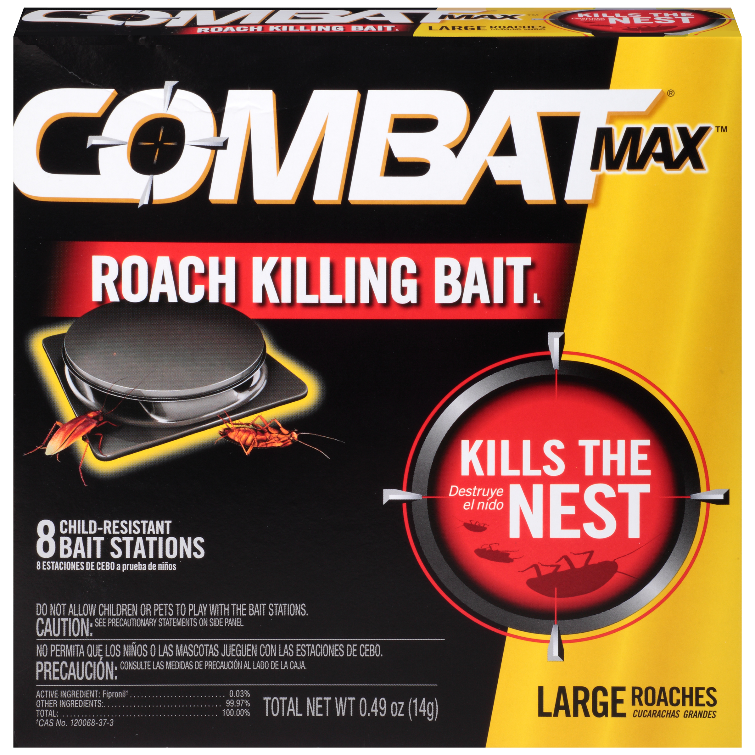 Combat Max Large Roach Killing Bait Stations, Child-resistant, 8 Count