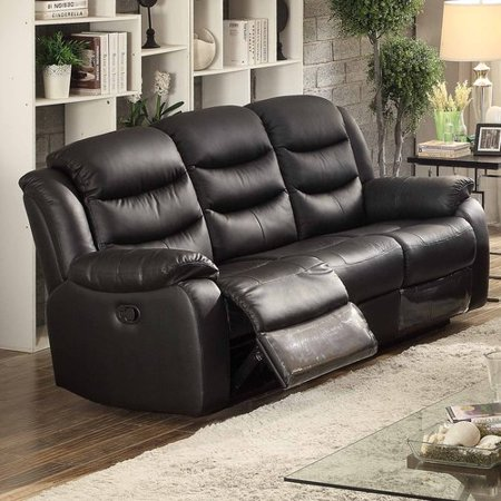 AC Pacific Bennett Black Leather Transitional Reclining Sofa