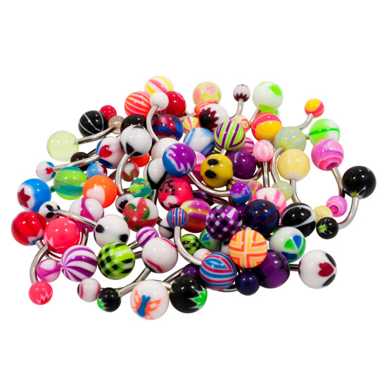 50 Pack 14 Gauge Belly Button Navel Bannana Barbell Rings, Mixed Colors and Designs