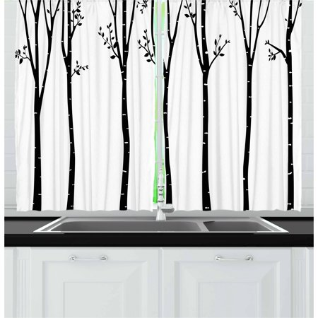 Black and White Curtains 2 Panels Set, Monochrome Birch Tree Silhouettes  with Autumn Season Foliage Branches, Window Drapes for Living Room Bedroom,  ...