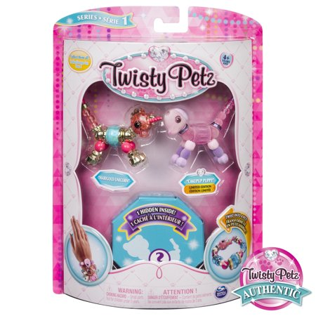 Twisty Petz - 3-Pack - Marigold Unicorn, Cakepup Puppy and Surprise Collectible Bracelet Set for Kids - Twistys Large