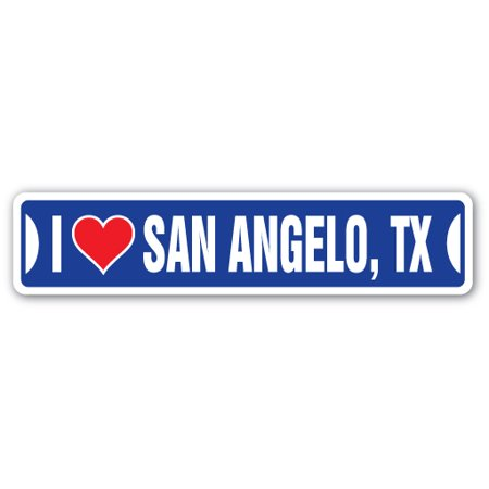 I LOVE SAN ANGELO, TEXAS Street Sign tx city state us wall road décor gift