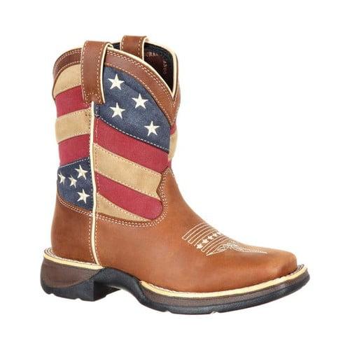 "Children's Durango Boot DBT0198Y Lil' Rebel Big Kid 7"" Flag Western Boot by Durango"