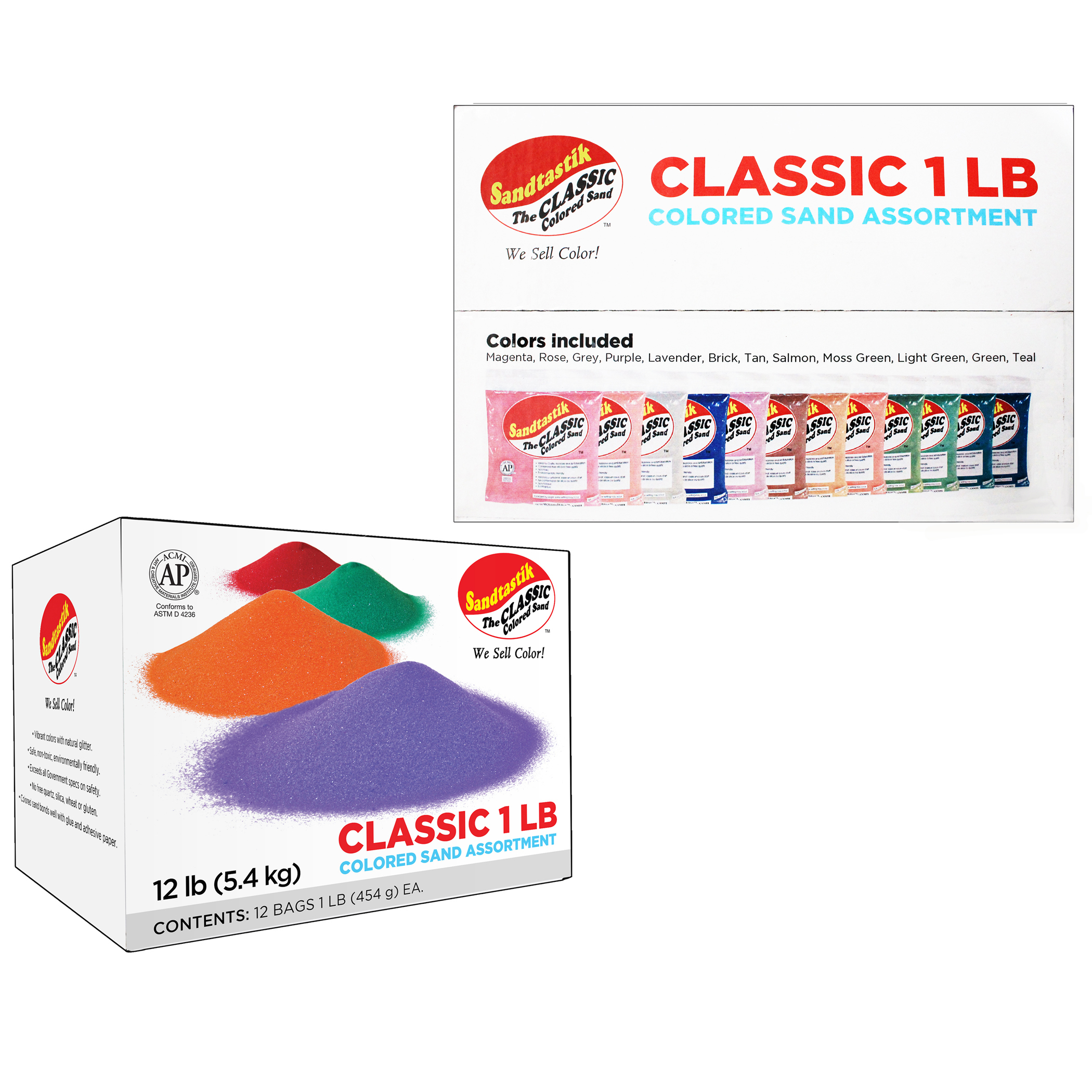 Sandtastik® Colored Sand Classroom Pack, 1 Pound Bags, Assortment 2, Set of 12