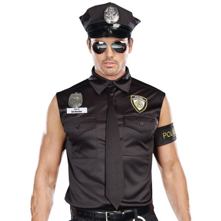 Dreamgirl Mens Black Dirty Cop Officer Ed Banger Costume](Dirty Cop Halloween Costume)